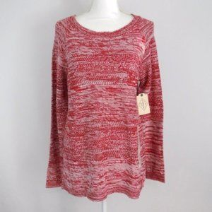 ST. Johns Bay Red Open Knit Tunic Sweater Large